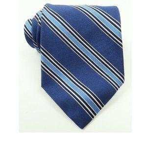 Brooks Brothers Blue Silver Repp Stripe Silk Tie